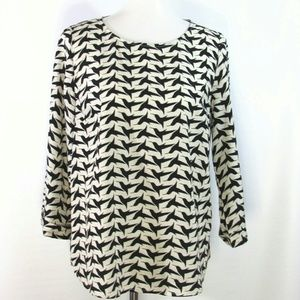 Pixley Black Bird Cream 3/4 Sleeve Top